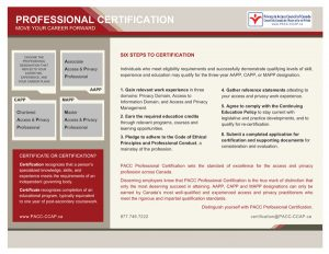 apply for certification the privacy and access council of canada